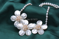 Wedding Elegant Pretty Pink Flowers Chokers Necklace Woman Jewelry Handmade Necklace AAA Natural Real Pearl Freshwater