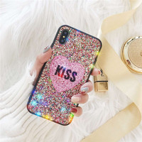 New Star Shinning Heart Shape Kiss Print Soft SIlicone Mobile Phone Cases For IPhone8 8PLus 7