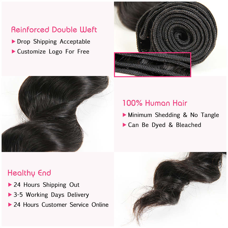 Image 2 - ALI ANNABELLE HAIR Brazilian Loose Wave Lace Closure Free Middle Part 4PCS Human Hair Bundles With Closure Remy Hair Extension-in 3/4 Bundles with Closure from Hair Extensions & Wigs