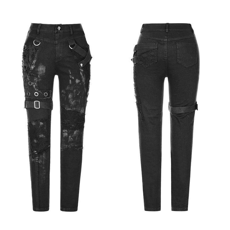 Женские обтягивающие брюки в стиле панк WK 319NCF - 5