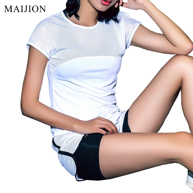MAIJION Sexy Mesh Breathable Yoga Shirts Tops Women Quick Dry Fitness Sport..