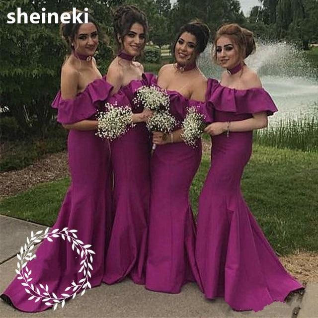 Fashion Purple Off Shoulder Mermaid Bridesmaid Dresses Long Ruffles Floor  Length Prom Dress Maid Of Honor For Women Custom Made 75da1661e