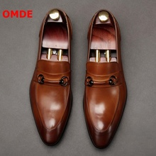 OMDE Pointed Toe Slip On Leather Shoes Men Loafers Business Dress Genuine Wedding Fashion Mens Office