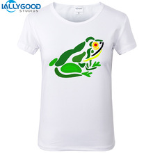 New Summer Fashion Cool Funny Green Frog Abstract Art T-Shirts Women Soft Cotton Printed White T Shirts Tops S1179