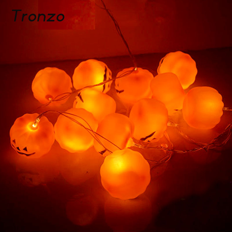 tronzo 1m halloween decoration pumpkin light 3d led plastic orange hanging string lamp festival party supplies - Halloween Decorations Pumpkins