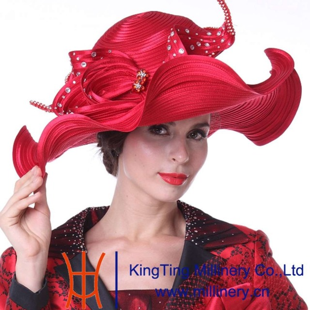 Kueeni Women Hats Hot Red Color Church Hats Lady Party Wear Fedoras Hats  Wide Brim Large Size Diamond Casings Wedding Dress Hats 6e707e0e6fc5