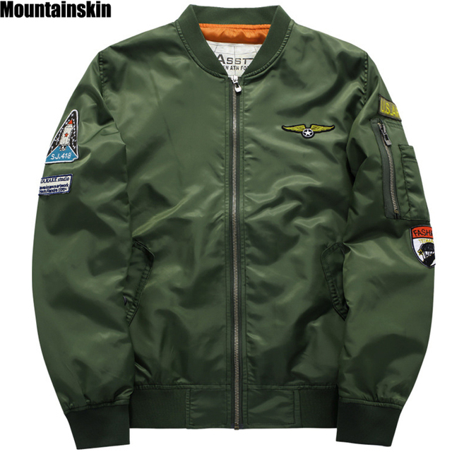 Mountainskin, 6XL Spring New Men's Pilot Jackets Casual Stand Collar Jacket Army Soldier Male Coats Fashion Brand Clothing,SA154