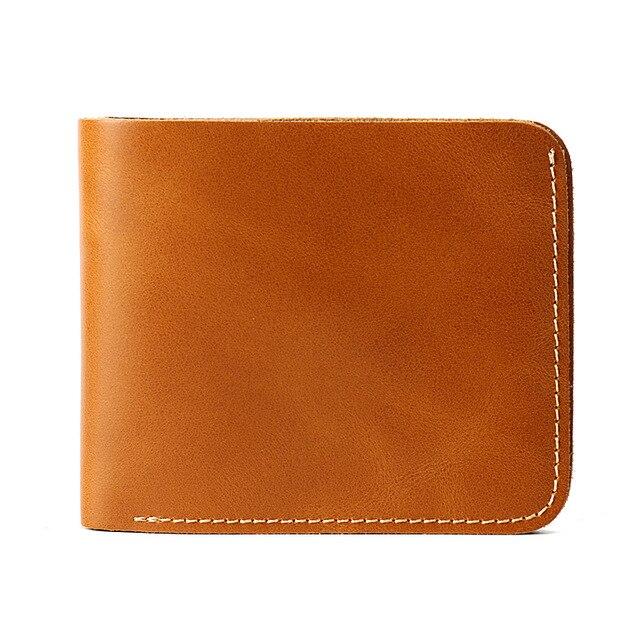 Винтаж для мужчин кошелек простой стиль ручной работы кожа на заказ имя небольшой бумажник карты мужской тонкий мини