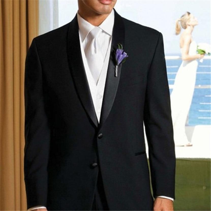 Bright Classic Black Mens Dinner Party Prom Suits Groom Tuxedos Groomsmen Wedding Men Suit Sets 2019 Tailored (jacket+pants+vest+tie) Professional Design