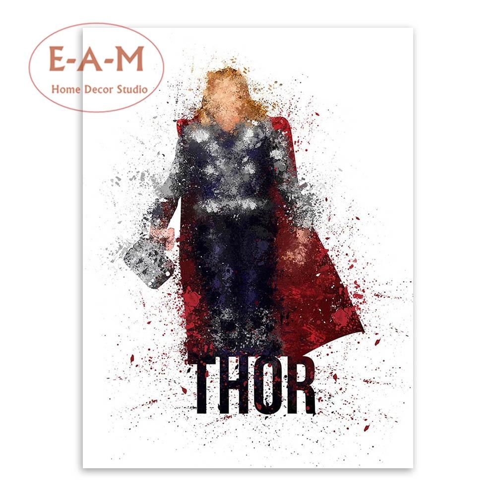 E-A-M Superheroes Splash Canvas İncəsənət Çap Rəsm Afişası - Ev dekoru - Fotoqrafiya 2