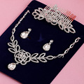 Свадебные аксессуары ожерелье для женщин красивый комплект ювелирных изделий хрустальный кулон, серьги, диадемы