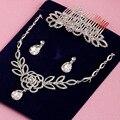 Accesorios de la boda collar de la mujer hermoso conjunto de joyas de cristal colgante pendientes tiaras