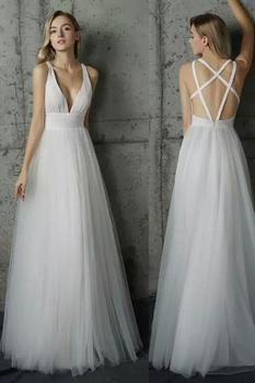 White Sexy 2019 Evening dress Gown Halter chiffon Floor-Length Prom Dress custom made Beach dress Robe de soiree