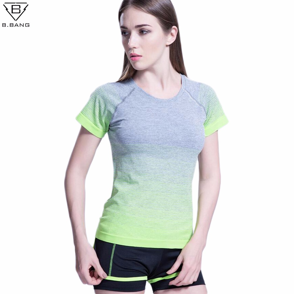 B.BANG Women Short Sleeved Yoga Shirts Dry Quick Tee Tops
