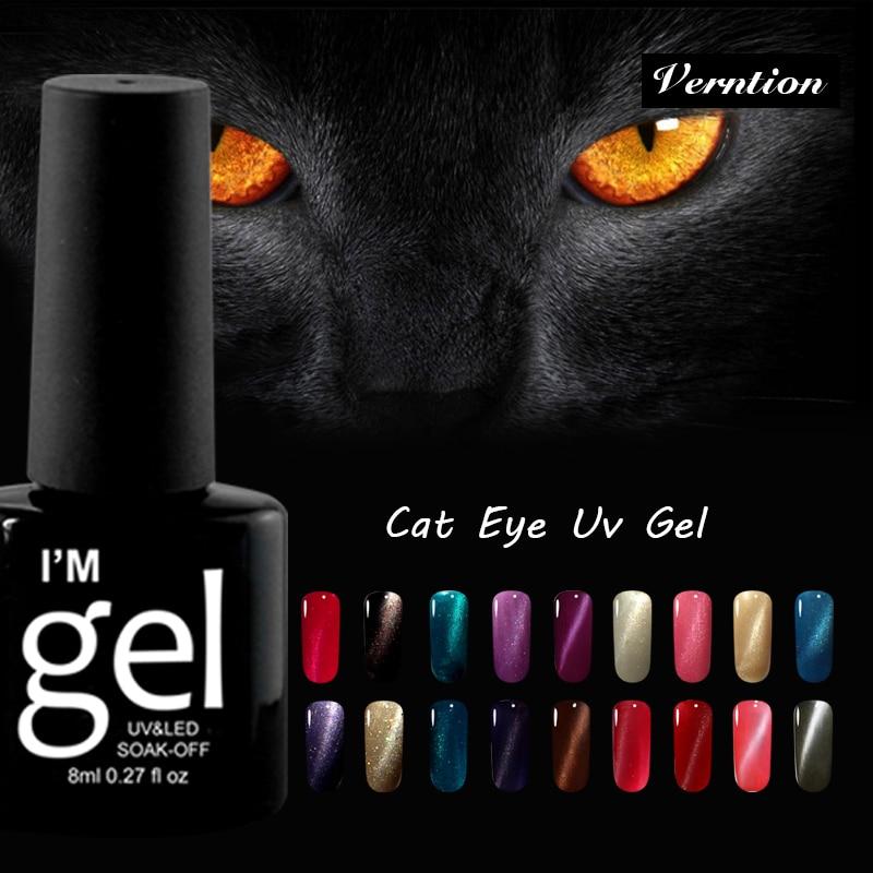 Verntion 8ml Chameleon Cat Eyes Nail Polish Long Lasting UV Nail Gel Vernish Soak Off Magnet UV Gel Nail Paint Need Led Lamp Gel