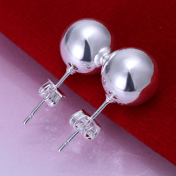 Wholesale High Quality Jewelry 925 jewelry silver plated 10mm Bead Earrings for Women best gift SMTE074