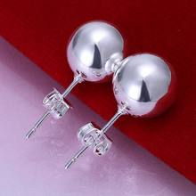 Wholesale High Quality Jewelry 925 jewelry silver plated 10mm Bead Earrings for Women best gift SMTE074(China)