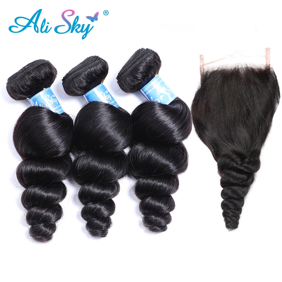 Alisky Hair 3 Bundles Malaysian Loose Wave with Pre Plucked Closure With Baby Hair Bouncy Curl no shedding no tangle Remy Hair