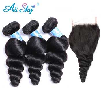 Alisky Hair 3 Bundles Malaysian Loose Wave with Pre Plucked Closure With Baby Hair Bouncy Curl no shedding no tangle Remy Hair - DISCOUNT ITEM  48% OFF All Category