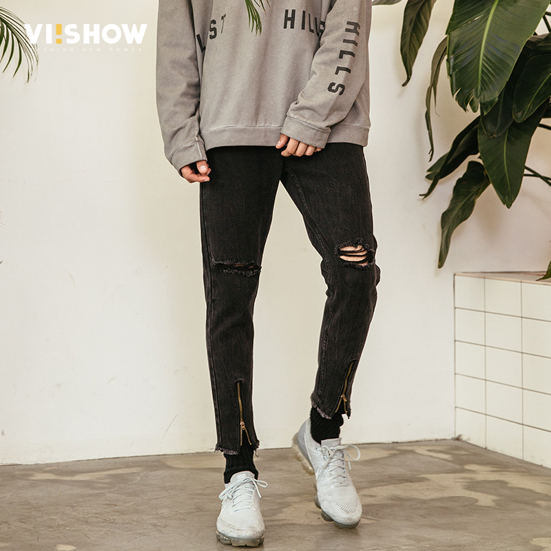 VIISHOW High Quality Men Skinny Jeans Hole In Knee Pants Thigh Ankle Zipper Hip Hop Ripped Jeans For Men Biker Homme NC1112181 ...