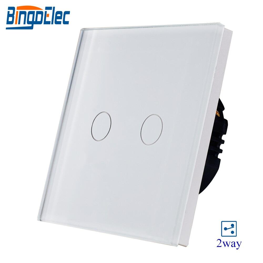 2 gang 2way weiß kristall gehärtetem glas panel touch schalter, sensor licht schalter