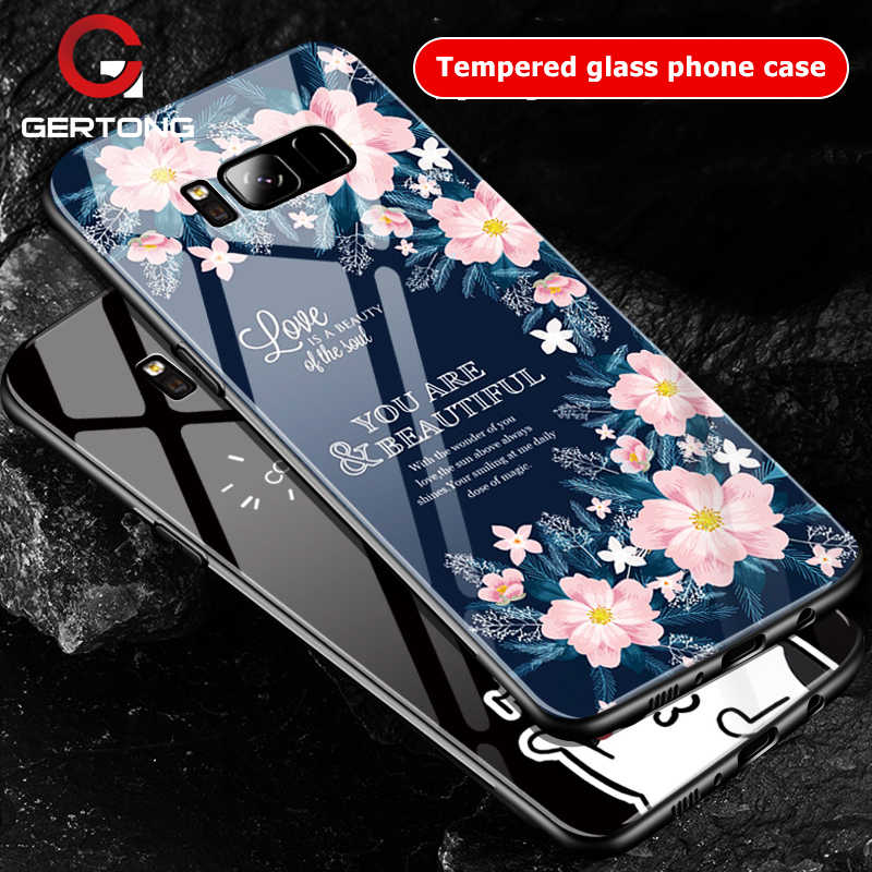 GerTong For Samsung Galaxy S9 S8 Plus Note 8 Back Cover Case Patter Tempered Glass Phone Cases For Samsung S9 + S8 Coque Capa