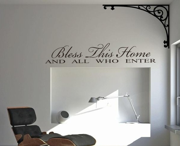 Hot sale bless this home and all who enter wall quote decal crafts vinyl sticker house decoration free shipping dh031 in wall stickers from home garden