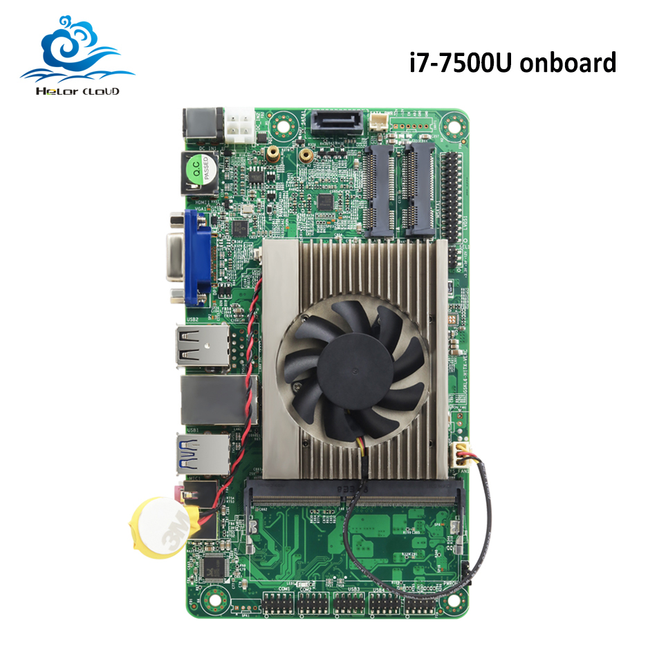 HLY Brand NEW Motherboard Mini All-in-one i7 onboard 7500U DDR4 HDMI VGA USB Mini ITX mSATA SATA Mini PCI-E Mainboard