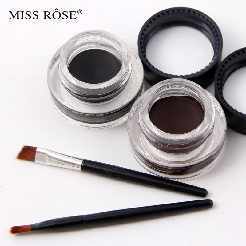 Miss rose brand gel eyeliner cream 24 hours long lasting drama 2 color a set black and brown with 2 brush