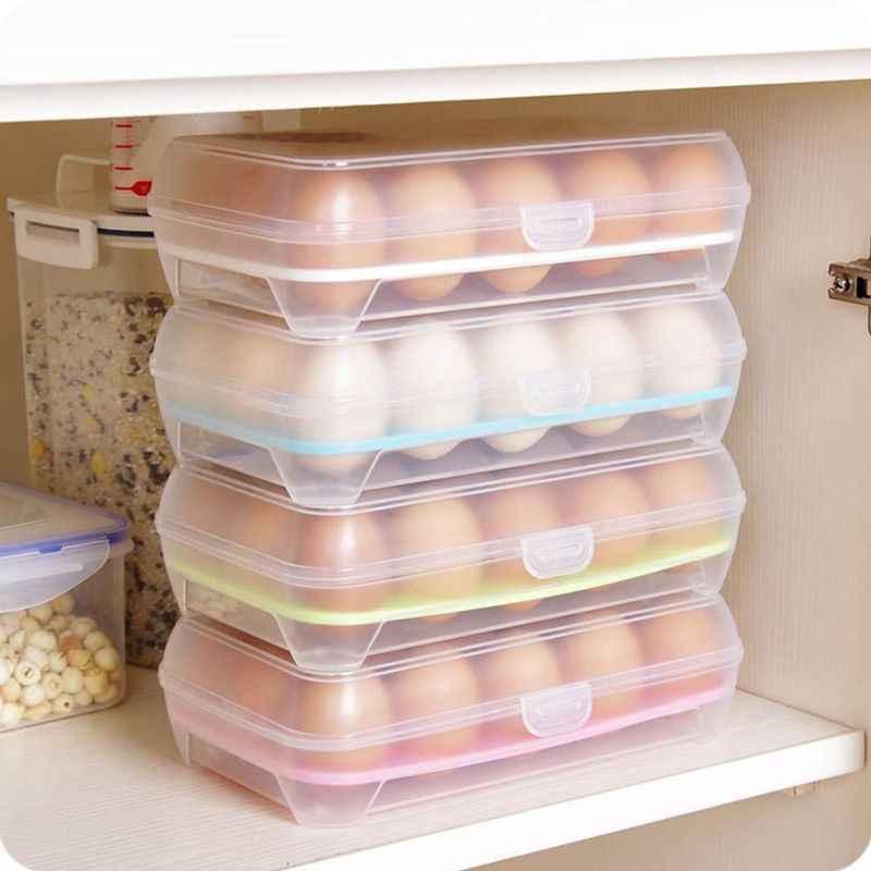Nhà bếp Trứng Hộp Bảo Quản Người Tổ Chức Tủ Lạnh Lưu Trữ 15 Trứng Người Tổ Chức Thùng Rác Ngoài Trời Di Động Hộp Đựng Bảo Quản 1 Cái Trứng Hộp