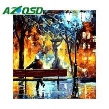 AZQSD Painting By Numbers Framed 40x50cm Colorful Night Bench Oil Painting Picture By numbers On Canvas Home Decor szyh197(China)