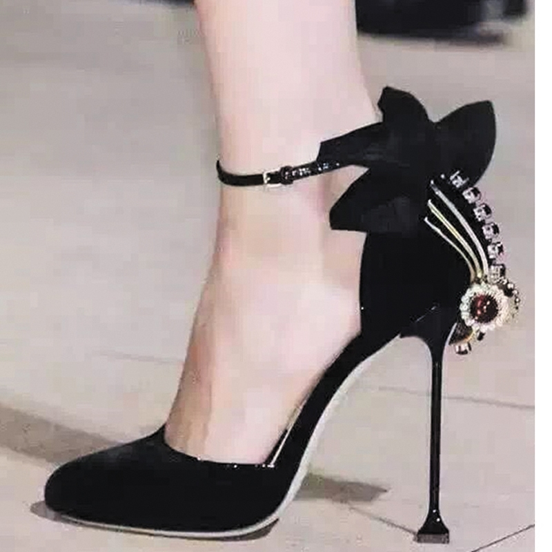 a4645c7e206eb3 Cute Pink Fashion Women Sandals Bowtie Rhinestone Decor Ankle Wrap Summer  Wedding Shoes Woman Gladiator High Heels Women Pumps-in High Heels from  Shoes on ...