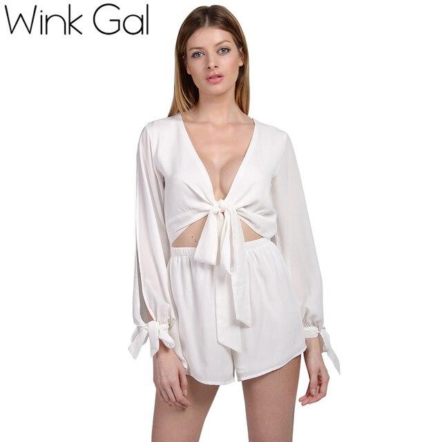 Wink Gal Open Sleeve Romper Long Sleeve Jumpsuit Deep V Neck Short Playsuit Sexy Beachwear 3229