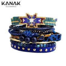 KANAK Fashion Multilayer Magnetic Bracelets Handmade Rivet Leather Summer Brazilian warp around Friendship Jewelry