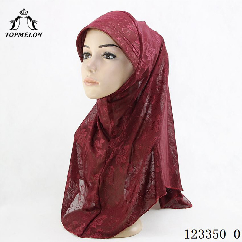 TOPMELON Floral Mesh Hijab Womens Scarf Caps Islamic Muslim Full Cover Hat Underscarf Head Shawl Rose Red Blue Pink Brown