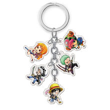 One Piece Keychain Dos Desenhos Animados Figura Chopper Nami Luffy Ace Boa Hancock Sabo Pingente Anel Chave(China)
