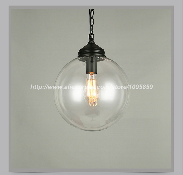 Free shipping vintage retro dining room clear glass ball for Dining room pendant light