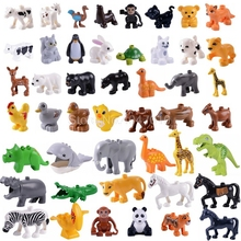 Bloques Duplo animales Tigre ballena caballo jirafa cocodrilo mono hipopótamo Panda Jurásico mundo dinosaurio DIY juguetes para niños Lockings
