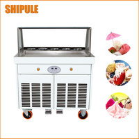 Full Stainless Steel One big square Pan Fried Ice Cream Machine Flat Pan Fry Ice Cream Maker Yoghourt Fried Ice Cream