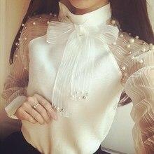 2018 Autumn Elegant Organza Bow Of Pearl White Blouse Casual Chiffon Shirt Elegant Women Blouses Tops Blusas Femininas