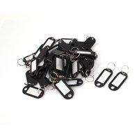 5 adet of 50 adet Plastik Bagaj KIMLIK Kartı Adı Etiketi Klip Tutucu Anahtarlık Siyah
