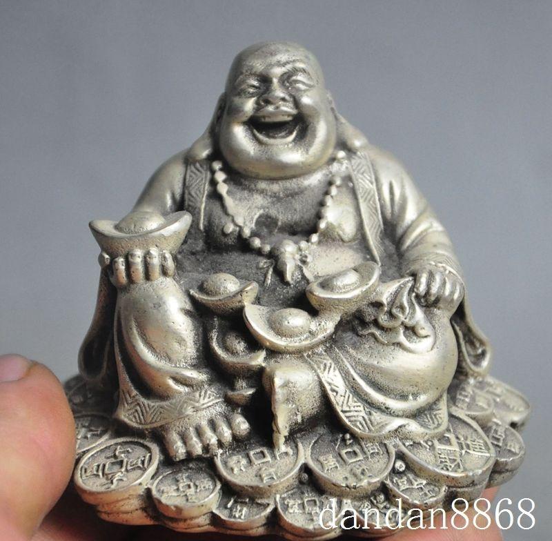 Chinese Buddhism tibet Silver Happy Laugh Maitreya Buddha hold Yuanbao Wealth Statue