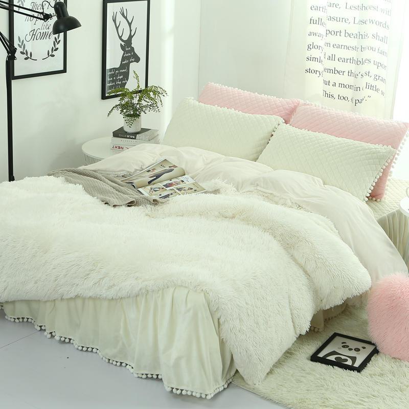 Новые длинные волосы длинные мохнатые зимний комплект постельных принадлежностей кашемир постельное белье кровать юбка наволочки и вербл...
