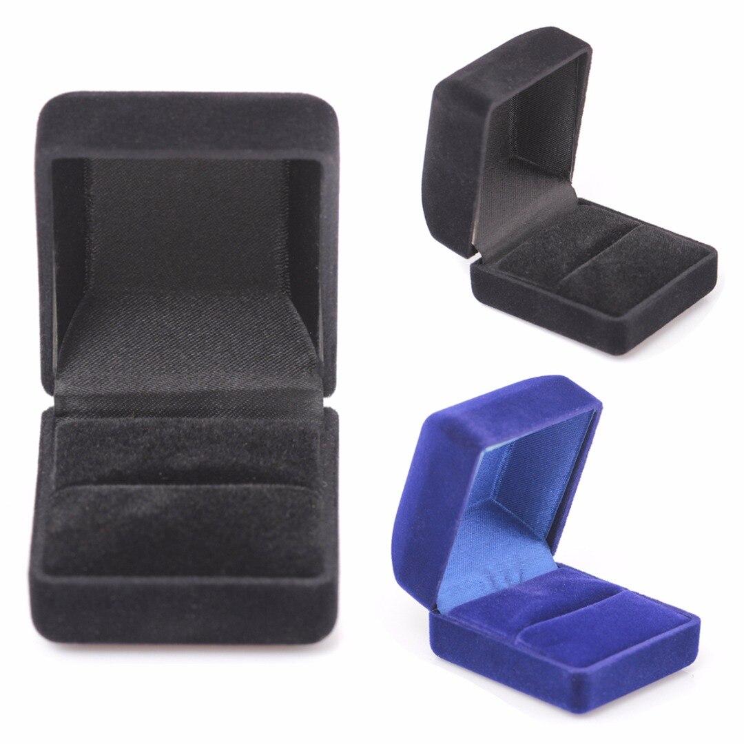 Colar de noivado anel pulseira jóias exibição presente caixa quadrada preto azul veludo armazenamento organizador caso shellhard