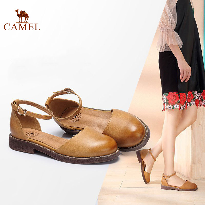 CAMEL Woman Sandals 2018 Summer New Elegant One-button buckle head Flat Shoes Round Head Casual Small Shoes For Girls elegant a line round button midi skirt for women