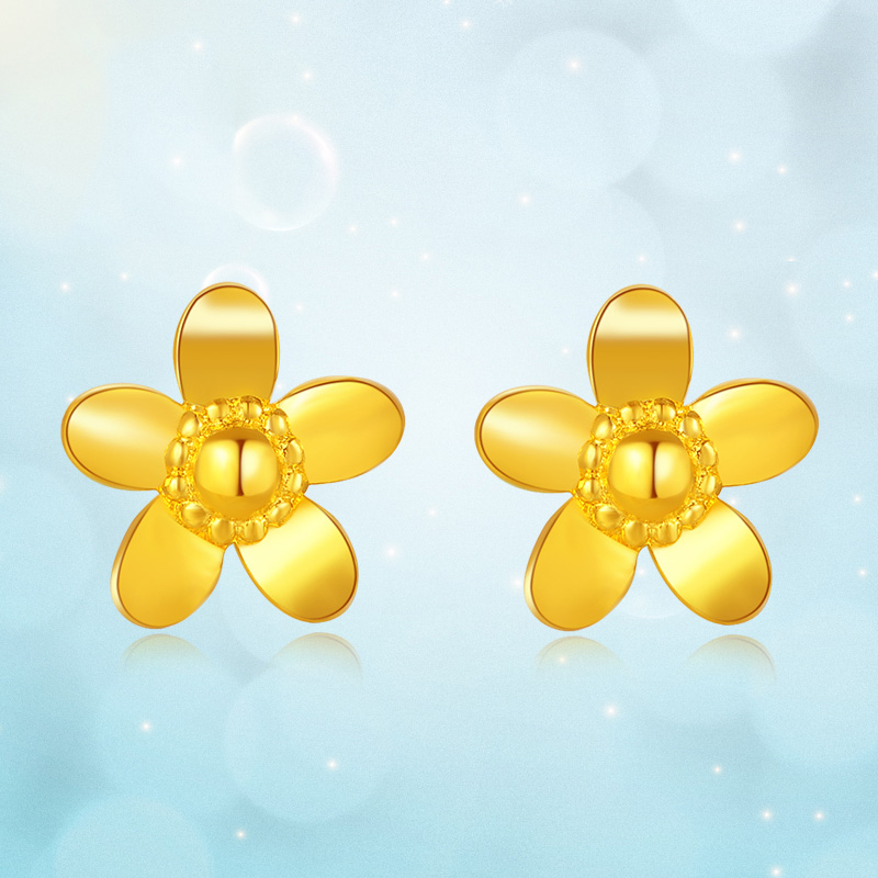 Pure 999 Yellow Gold Flower Stud Earrings 2.11g - 2
