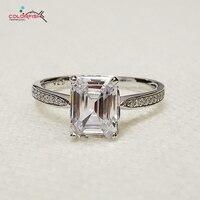 COLORFISH Prong Kanal 1,5 Karat Solitaire Verlobungsring Shiny Synthetische Sona Nscd Frauen 925 Sterling Silber Versprechen Ring