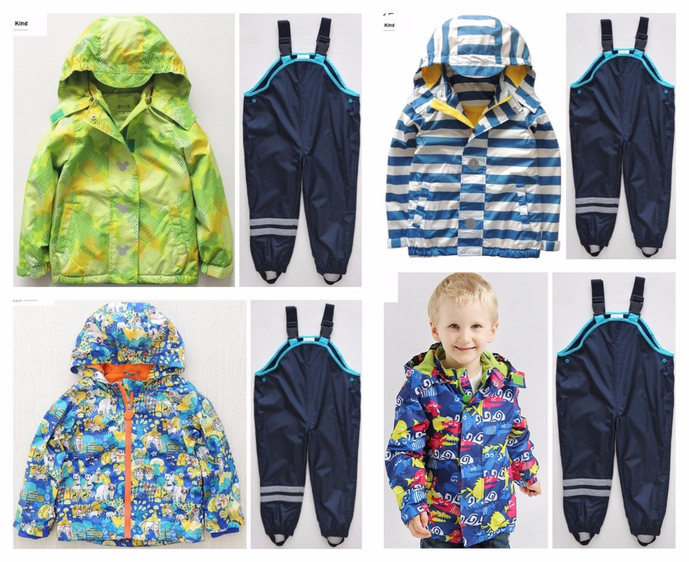 Children waterproof long sleeve hooded ski-wear, add wool coat and children wind proof charge pants suit Spring autumn outfit