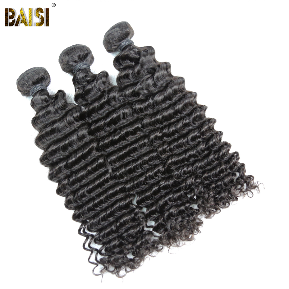 BAISI Deep Wave Brazilian Remy Hair 3Pcs/Lot Nature Color Double Machine Weft 100% Human Hair Extensions 10-26inch Free Shipping