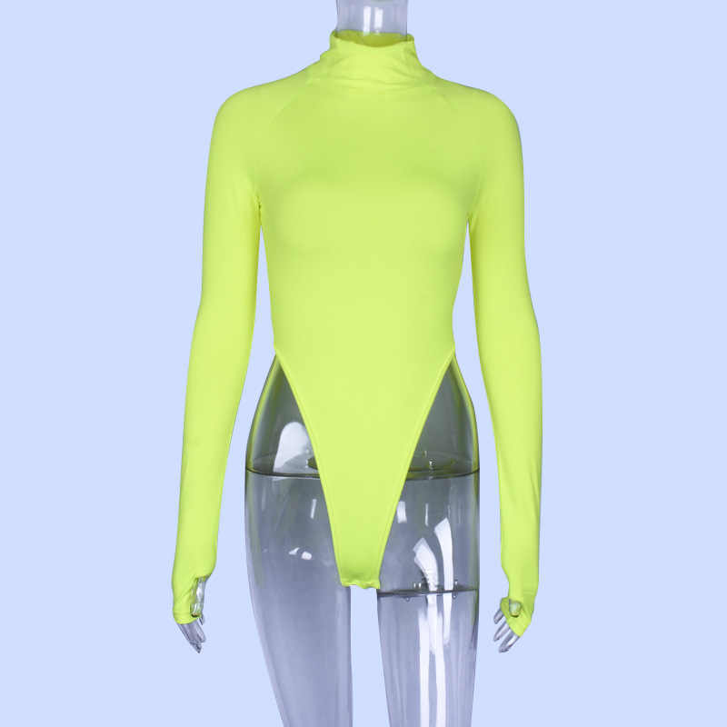 BOOFEENAA Neon Gợi Cảm Sexy Xanh Một Mảnh Bodysuit Nữ Huỳnh Quang Nữ Cổ Cao Dài Tay Thông Bodysuits Dạo Phố C70I85